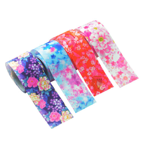 4pcs 1 Yard Japanese Sakura Grosgrain Ribbon Trim for Sewing Decoration 4cm