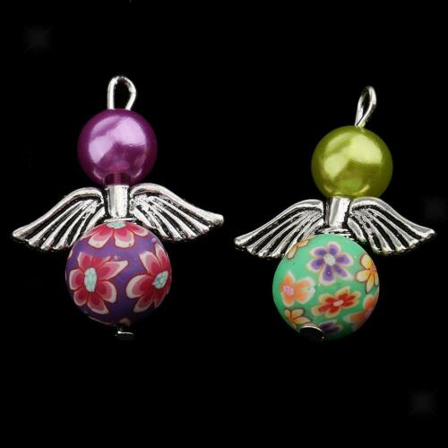 10X Dancing Angel Charms Pendant Beads Drops Silver Wings DIY Jewelry Craft