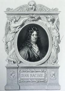 XIX Incisione Originale Ritratti Di Jean Racine Firmato A Matita Borsa 1843