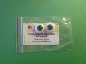 Doll acrylic real eyes for reborn doll kits 16mm H//R moss green one pair.