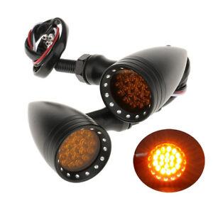 Black-Metal-LED-Indicators-4-Harley-Triumph-Bonneville-Thruxton-Cafe-Racer-Bike