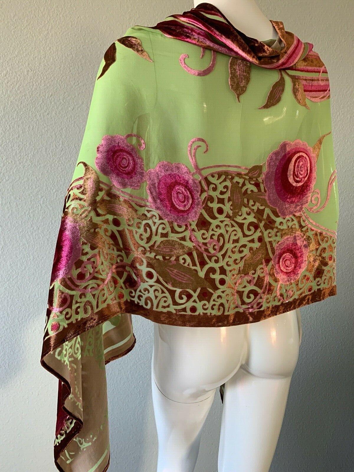 Nordstrom magnífico sacarf Mujer Largo Chal/bufanda de terciopelo quemado Floral 65X24