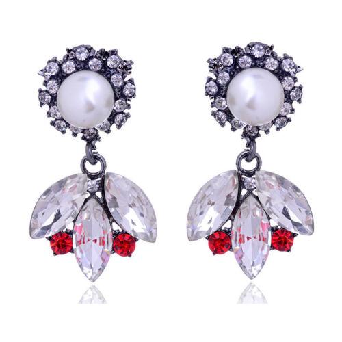 Perla para mujer de lujo Cristal Estrás Pendientes Cuelgan Aretes Joyería Regalos