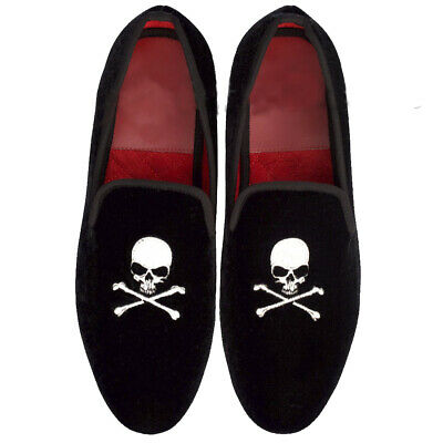 eeed75eafdb7a Mens Handmade Shoes Black Velvet Skull Logo Silver Embroidery Loafers  Casual New | eBay