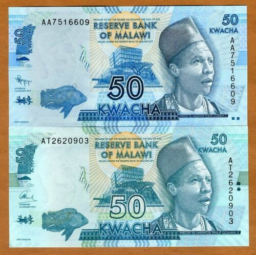 Pick 58 2012; 2015 UNC colors signatures Malawi 2 x 50 Kwacha two dates
