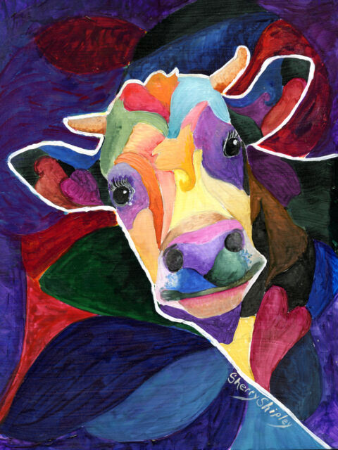 WOW COW  Original  8x10 Art Framed Painting Sherry Shipley