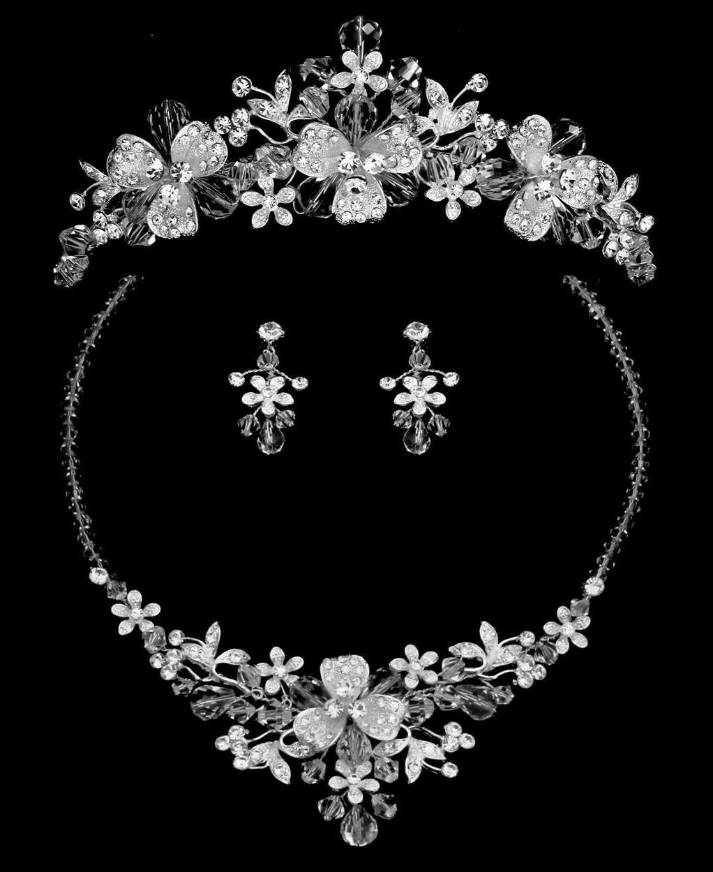 Silver Rhinestone Crystal Flower Bridal Tiara Wedding Necklace Jewelry Set
