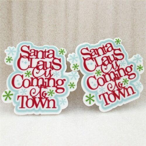 5 x 50 mm Santa Claus is Coming to Town Xmas NOËL LASER CUT Dos Plat Résine