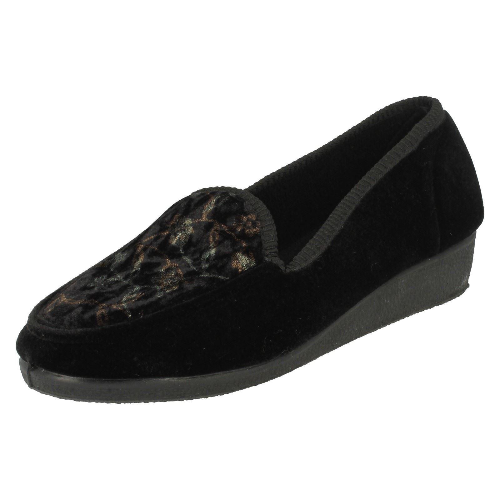 SALE Spot On Velour X2016 Ladies Black Textile Velour On Slip on Full Slippers 4770c6