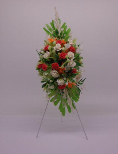Casa De Muñecas En Miniatura De Flores Escala 1:12 Flores Rosas ataúd Cubierta Soporte