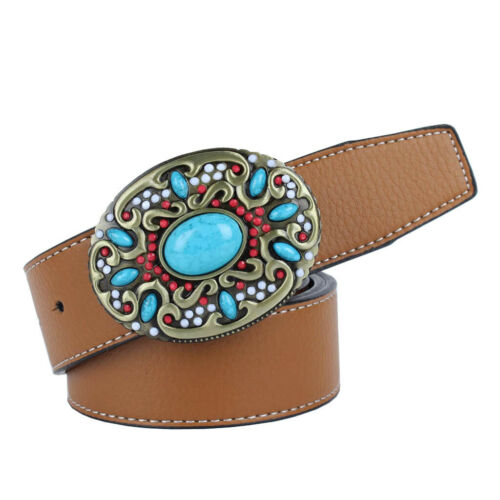 Boho Country Western Leather Belt Removable Buckle Cowboy Cowgirl Adjustable