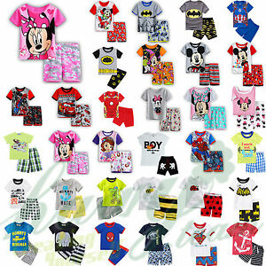 Kids-Baby-Boys-Girls-2pcs-Sleepwear-Nightwear-Shortie-Pj-039-s-Pyjamas-Outfits-Sets