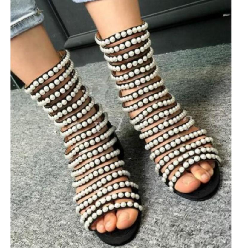 Hot Gladiador Sandalia De Perlas Para Mujer botas al Tobillo Tobillo Tobillo Zapatos De Cremallera Romano Con Tiras Puntera Abierta  en linea