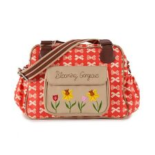 Pink Lining BLOOMING GORGEOUS CREAM BOWS ON RED Baby Changing Nappy Diaper Bag