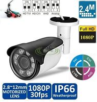 4x Zoom Ahd Camera Tvi Cvi Cvbs 2.8-12mm Lens Ir 1080p 2.4mp Cctv Home Security
