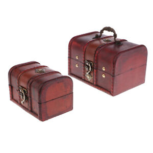 2x-Vintage-Wooden-Jewelry-Storage-Box-Case-Treasure-Chest-Organizer-Holder