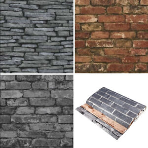 3D-Effect-Rustic-Brick-Grey-Slate-Stone-Wallpaper-Panel-Charcoal-NEW-Fine-Decor