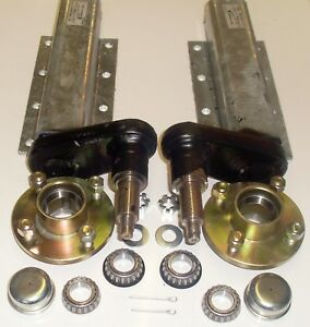 TRAILER SUSPENSION UNITS GALVANIZED 750KG EXTENDED COMPLETE WITH HUBS /& BEARINGS