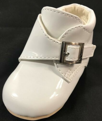 SIZES 3-6 INFANT BABY BOY INFANT WHITE PATENT SHOES BAPTISM CHRISTENING