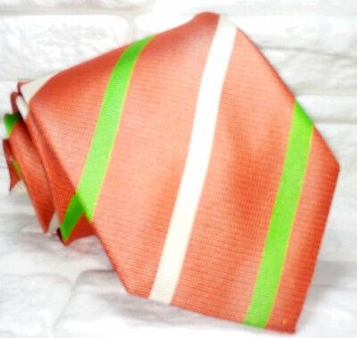 Cravatta Uomo Regimental Arancione Pura Seta Made In Italy Handmade Informale