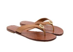 26b83ee758cfc Tory Burch NEW Thora Tan Tumbled Leather Flat Thong Leather Sandal ...