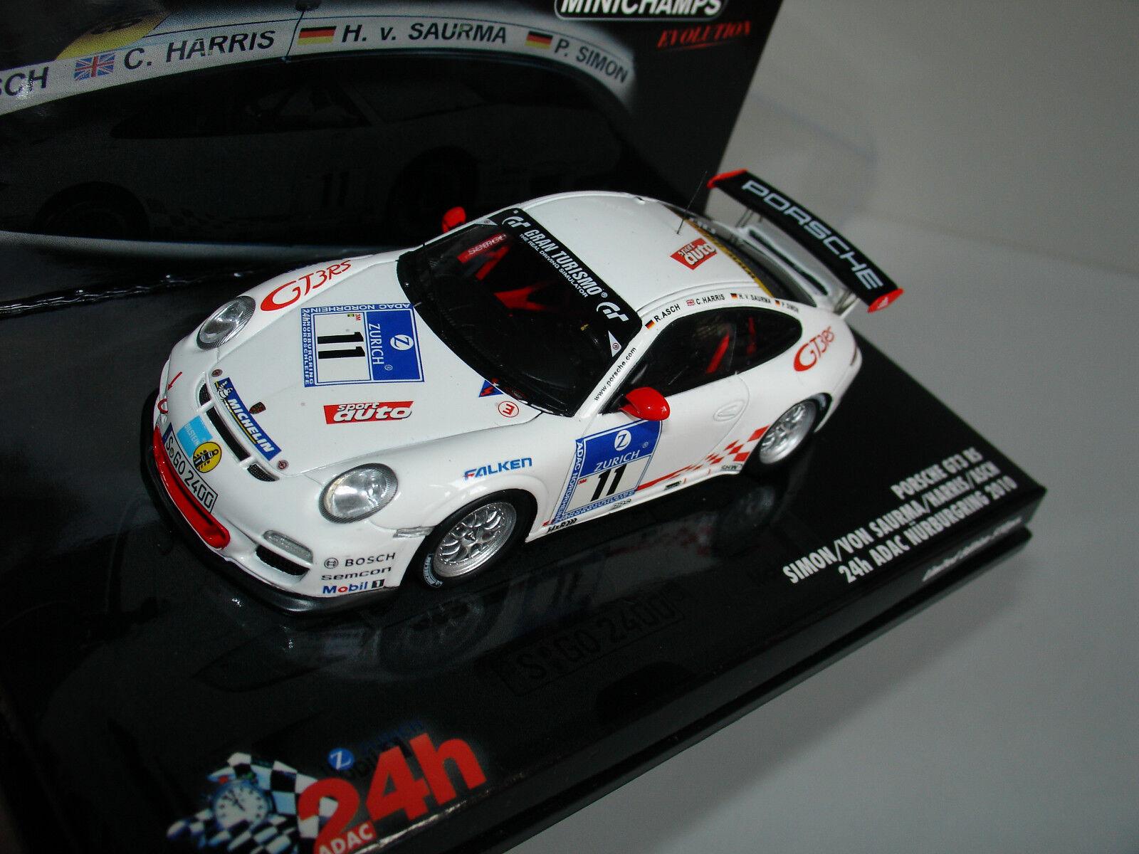 1   43 porsche gt3 rs   11 24h nürburgring 2010 l. e 510pcs adac von minichamps