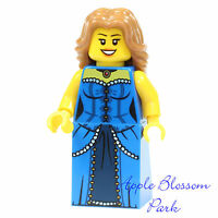 NEW Lego FEMALE MINIFIG Castle Princess w/Blue Torso Dress Long Brown Girl Hair