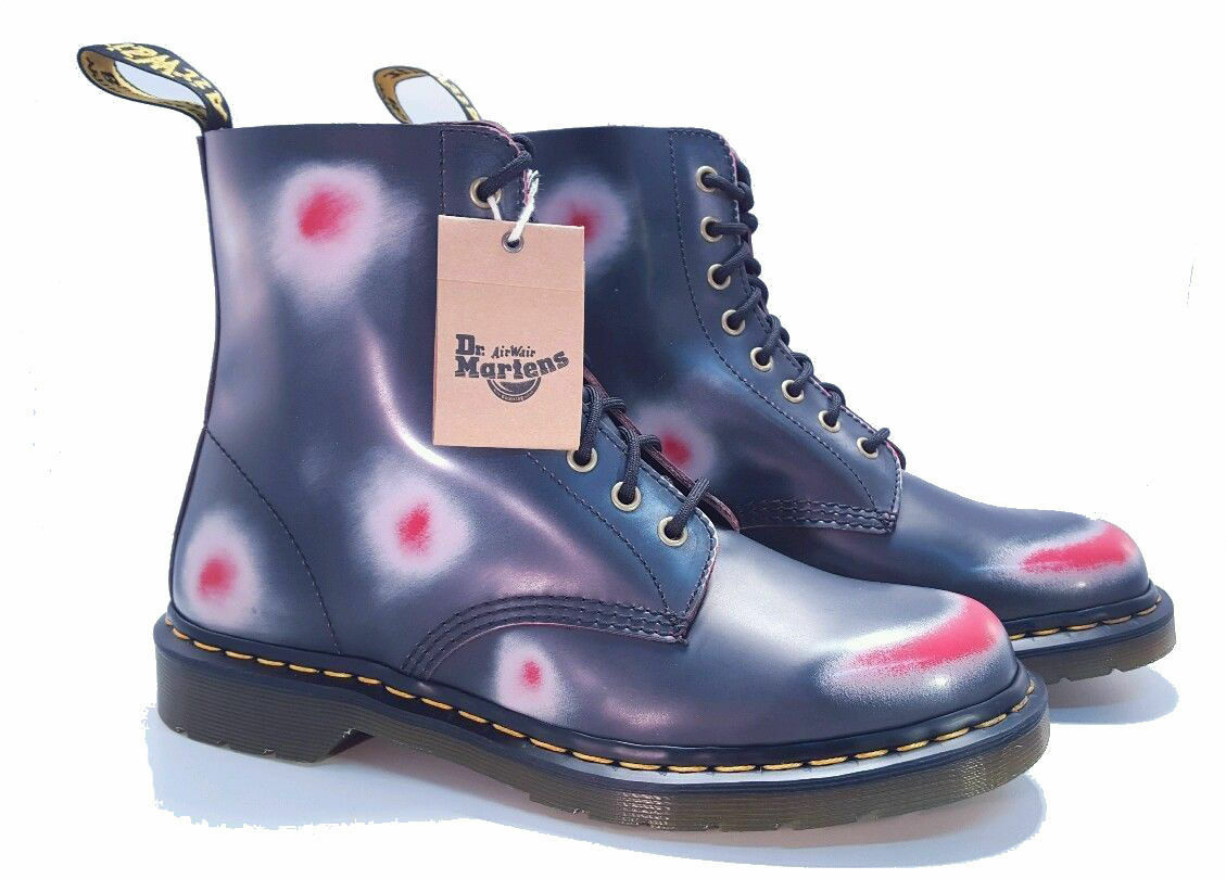 Dr. Martens Doc 1460 Pascal Navy White Red Rub-off Boots US 6