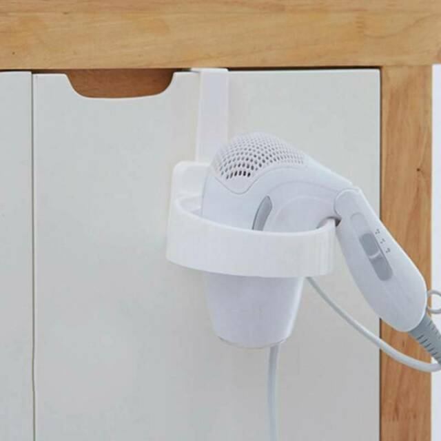 Wall Mounted Hair Dryer Organizer Holder Rack Bathroom Dryer Shelf Stand QK