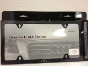Audi Plate Frame >> Details About Audi License Plate Frame Flat Black Stainless Steel Rings Logo