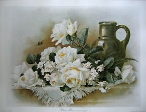 art-print-WINTER-ROSES-Paul-deLongpre-vtg-repr-white-flowers-bee-Victorian-23x18