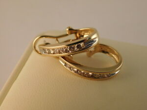 JARED DIAMOND 14K GOLD HOOP EARRINGS CLASSIC OMEGA BACKS ORIGINAL