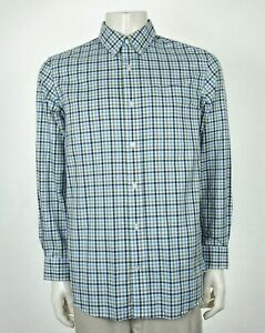 Duluth-Trading-Co-Wrinklefighter-White-Plaid-Button-Shirt-Mens-Large