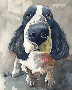 Springer-Spaniel-Art-Print-Signed-by-Artist-Ron-Krajewski-Painting-8x10-English