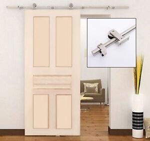 6 6ft steel interior sliding wood barn door track kit closet hardware set ebay for Interior sliding barn door kit hardware set