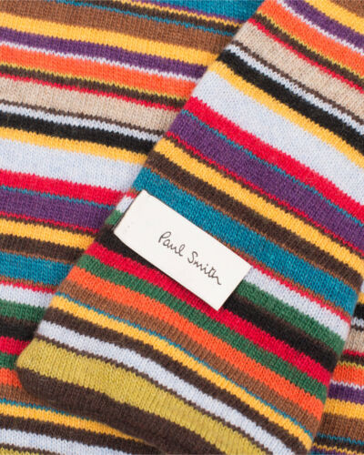 PAUL SMITH Signature Multi Stripe Wool//Cashmere Scarf Muffler ski skiing