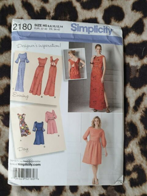 Simplicity Sewing Pattern 2180 Misses Dress in two lengths with back variations.