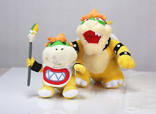 2x Super Mario Stand King Koopa & Brush Bowser Jr. Plush Doll Soft Toy Xmas Gift