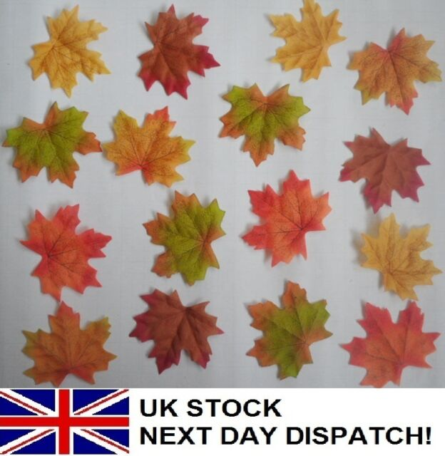 50pcs Fall Fake Silk Leaves Wedding Favor Autumn Maple Leaf Decorations