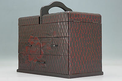 KAMAKURABORI Vintage Lacquered Woodcarving Sewing Box Peony JPN  403e14