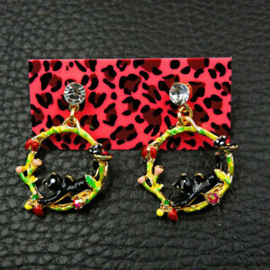 Betsey-Johnson-Enamel-Black-Cute-Cat-Dangle-Earrings-Women-Fashion-Jewellery-New