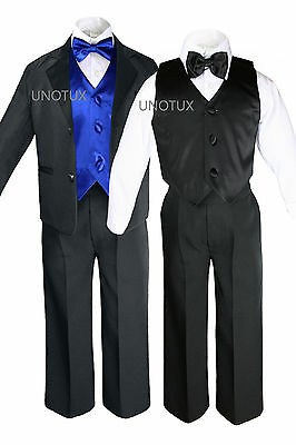 Baby Kid Teen Boys Formal Party 7pc Black Suits Tuxedo Color Satin Vest Tie S-20
