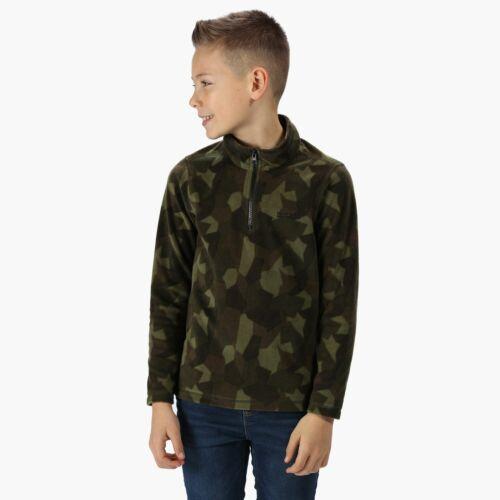 Green Regatta Kids Lovely Jubblie Lightweight Half Zip Printed Fleece