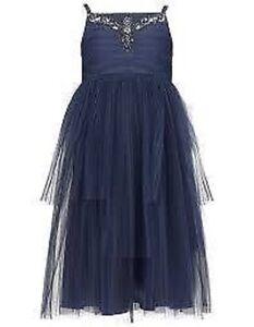 831a924007c3 Details zu Monsoon Mädchen Kleid Maiya Marineblau Party Brautjungfer  Hochzeit NEU Kinder
