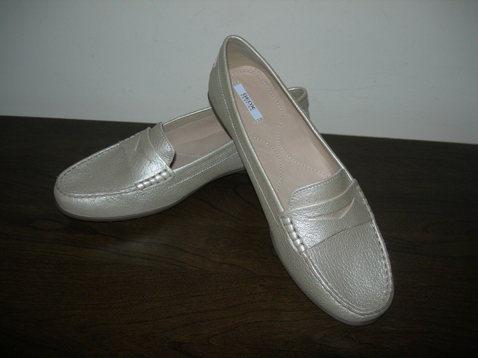 GEOX RESPIRA donna sautope SLIP ON FLATS CHAMPAGNE oroEN LEATHER EU 41