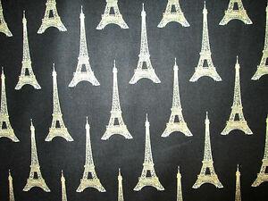 PARIS-FRANCE-EIFFEL-TOWER-CREAM-ON-BLACK-COTTON-FABRIC-FQ