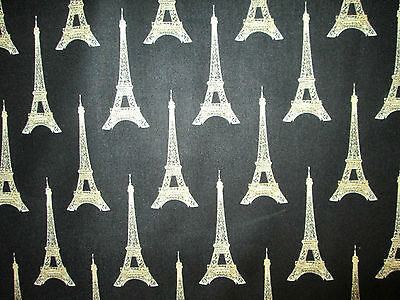 PARIS FRANCE EIFFEL TOWER CREAM ON BLACK COTTON FABRIC FQ