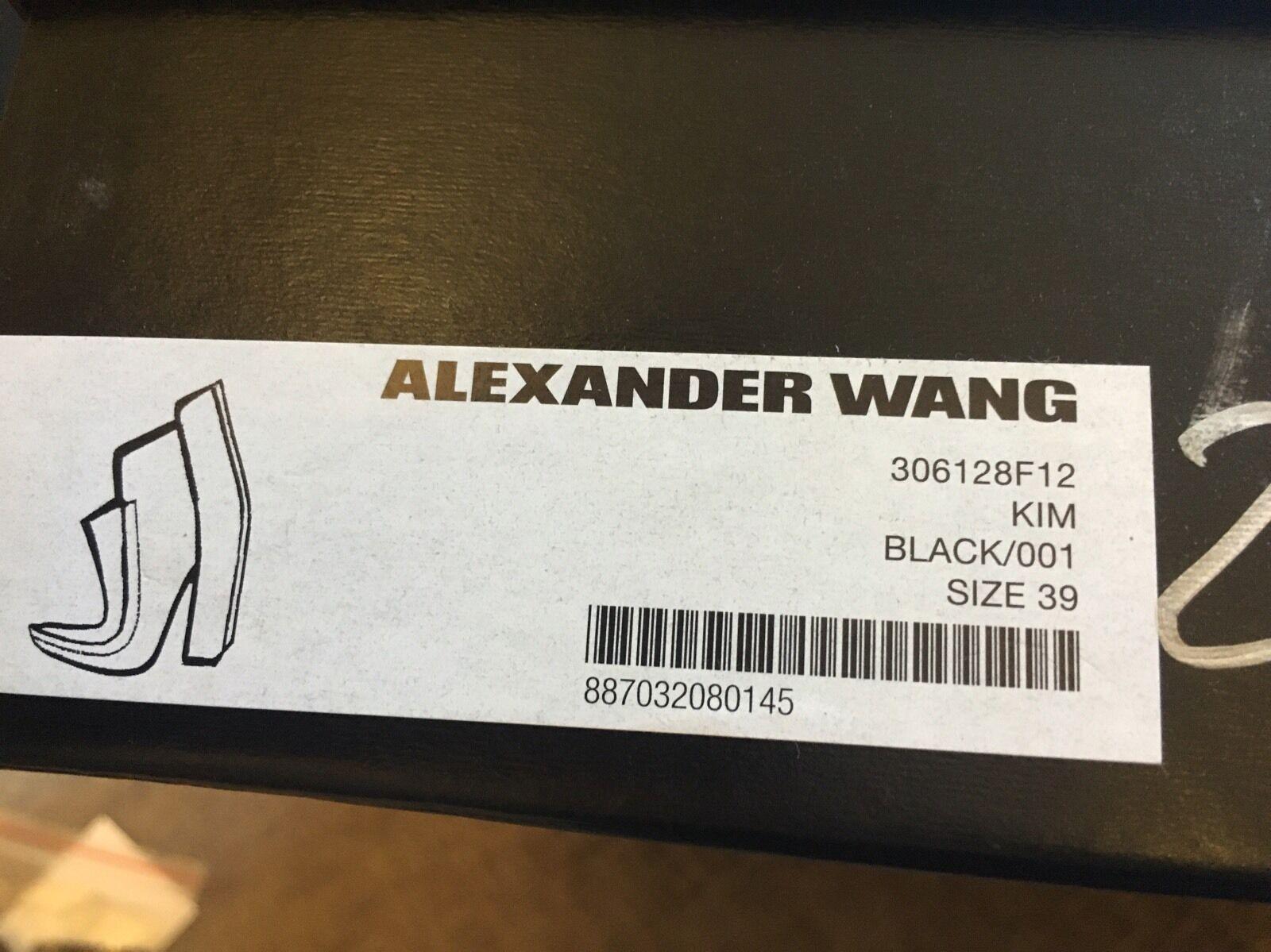 Alexander Wang Para Damas De Cuero Negro Botas al Tobillo Talla Bloque Talón Talla Tobillo 13100b