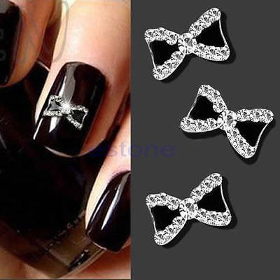10Pcs 3D Glitter Rhinestone Bowknot Diy Nail Art Accessories Manicure Tips Nice