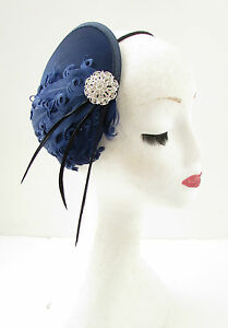 Navy Blue Black Silver Feather Fascinator Headband Headpiece Races Vintage A99